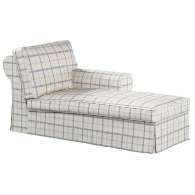 Ektorp chaise longue right cover 131-66 blue check, ivory background Collection Avinon