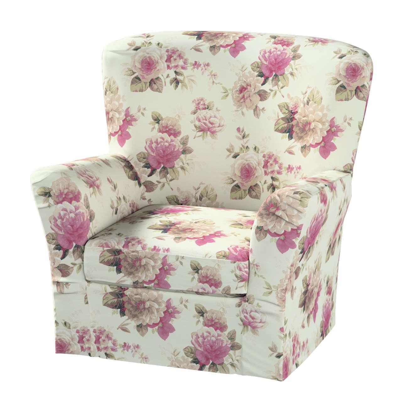 Pokrowiec na fotel Tomelilla z zakładkami fotel Tomelilla w kolekcji Mirella, tkanina: 141-07