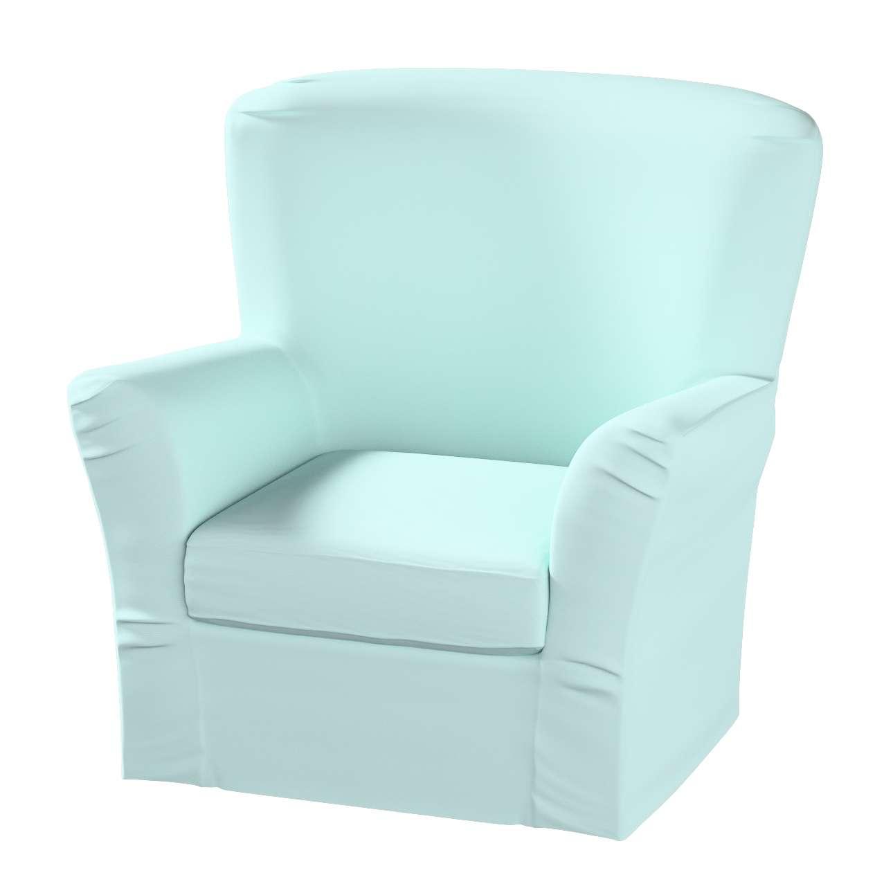 Pokrowiec na fotel Tomelilla z zakładkami w kolekcji Cotton Panama, tkanina: 702-10