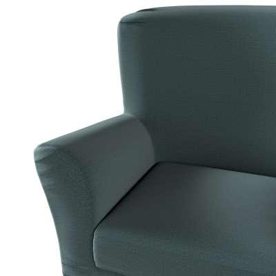 Pokrowiec na fotel Tomelilla z zakładkami 705-36 zgaszony szmaragd - welwet Kolekcja Ingrid