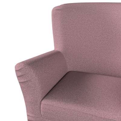 Pokrowiec na fotel Tomelilla z zakładkami 704-48 różowy z czarną nitką Kolekcja Amsterdam