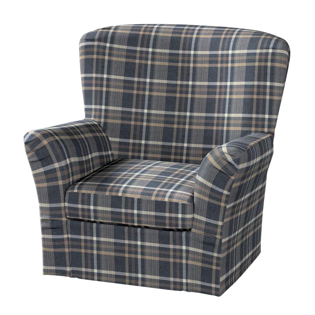 Pokrowiec na fotel Tomelilla z zakładkami w kolekcji Edinburgh, tkanina: 703-16