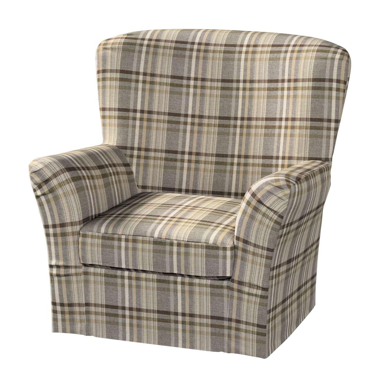 Pokrowiec na fotel Tomelilla z zakładkami w kolekcji Edinburgh, tkanina: 703-17