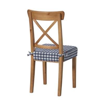 Siedzisko na krzesło Ingolf 136-01 granatowo biała kratka (1,5x1,5cm) Kolekcja Quadro