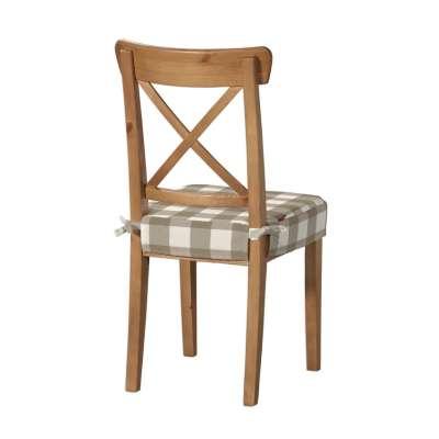 Sedák na stoličku Ingolf 136-08 béžovo-biele veľké káro Kolekcia Quadro
