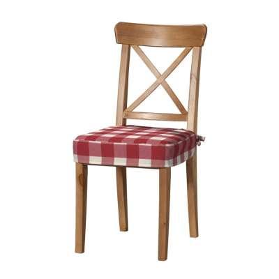 Siedzisko na krzesło Ingolf 136-18 czerwono biała krata (5,5x5,5cm) Kolekcja Quadro