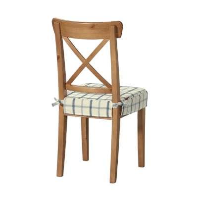 Siedzisko na krzesło Ingolf 131-66 ecru tło, niebieska kratka Kolekcja Avinon