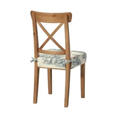 Ingolf sittepute 132-66 Blå print, creme bakgrunn Kolleksjon Avinon
