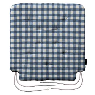 Siedzisko Olek na krzesło 136-01 granatowo biała kratka (1,5x1,5cm) Kolekcja Quadro