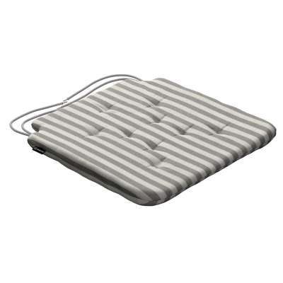 Oleg seat pad with ties 136-12 graphite and white stripes (1.5cm) Collection Quadro