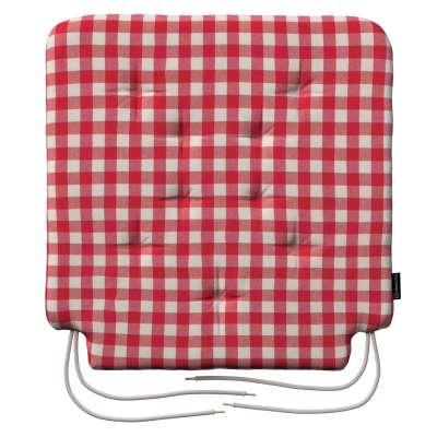 Siedzisko Olek na krzesło 136-16 czerwono biała kratka (1,5x1,5cm) Kolekcja Quadro