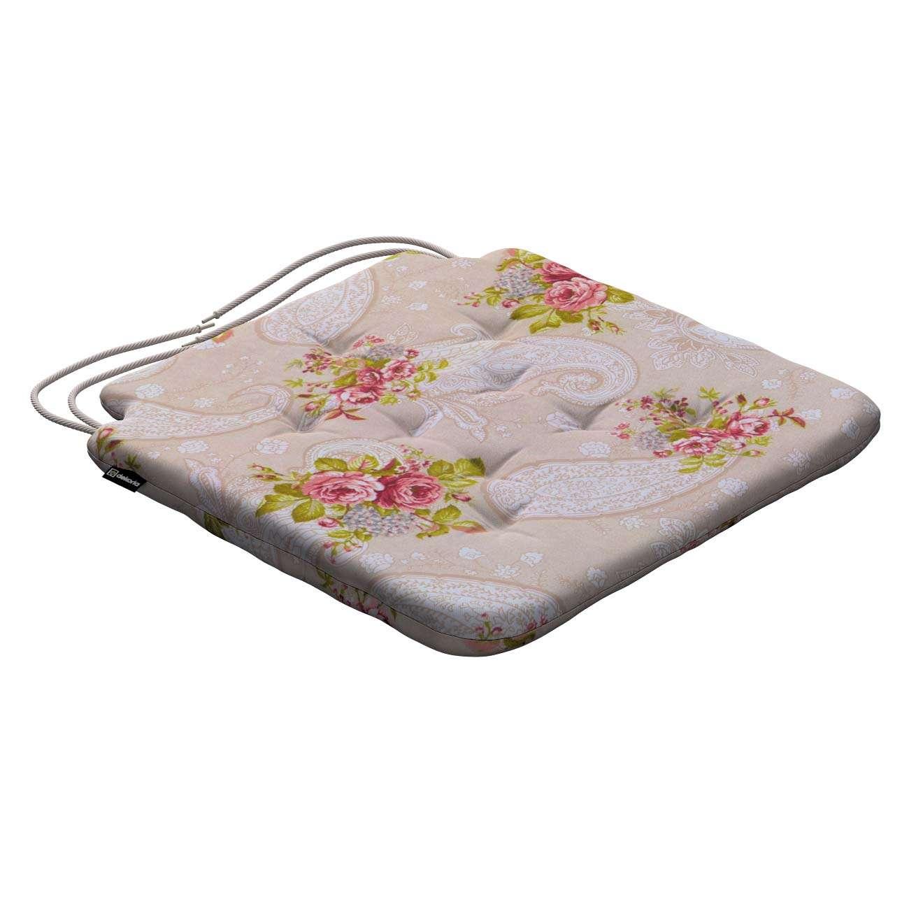Stuhlkissen Christoph mit Bindeschnur, Rosen auf dem beigen Hintergrund, 42 × 41 × 3,5 cm, Flowers | Heimtextilien > Decken und Kissen > Kissen | Dekoria