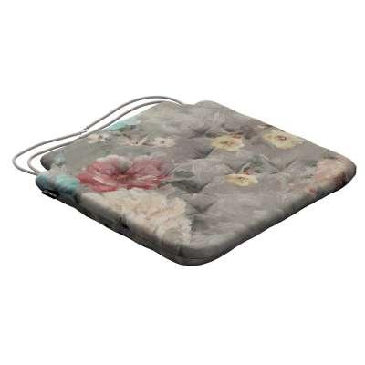 Siedzisko Olek na krzesło 137-81 niebieskie i różowe kwiaty na szarym tle Kolekcja Flowers