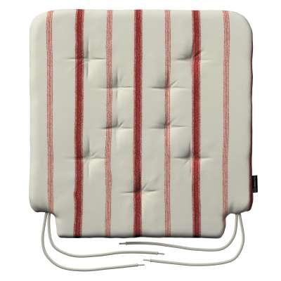 Sedák Olek 42x41x3,5cm 129-15 režný podklad, červené pásky Kolekce Avignon