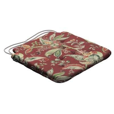 Siedzisko Olek na krzesło 142-12 wzory roślinne i kwiatowe na czerwono-ceglanym tle Kolekcja Gardenia