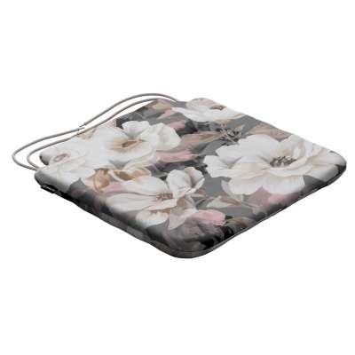 Siedzisko Olek na krzesło 142-13 kremowe i różowe kwiaty na szarym tle  Kolekcja Gardenia