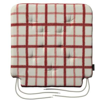 Oleg seat pad with ties 131-15 red check, ivory background Collection Avinon