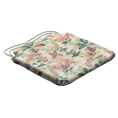 Siedzisko Olek na krzesło 143-41 różowo-beżowe rośliny na tle ecru Kolekcja Londres