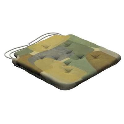 Siedzisko Olek na krzesło 143-72 geometryczne wzory w zielono-brązowej kolorystyce Kolekcja Vintage 70's