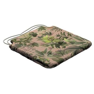 Siedzisko Olek na krzesło 143-71 zielona roślinność na brudnoróżowym tle Kolekcja Tropical Island