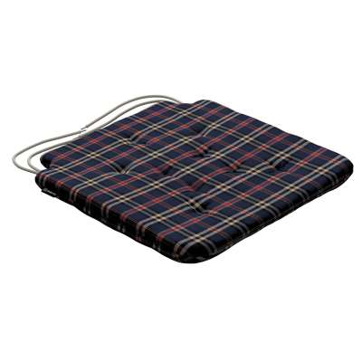 Oleg seat pad with ties 142-68 dark blue and red check Collection Christmas