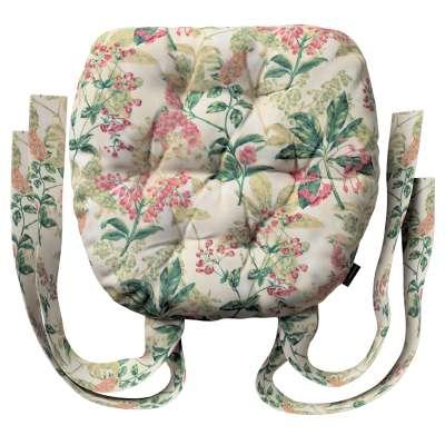 Siedzisko Marcin na krzesło 143-41 różowo-beżowe rośliny na tle ecru Kolekcja Londres