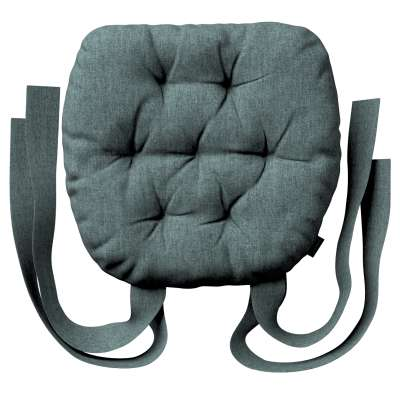 Martin seat pad with bows 704-85 gray blue chenille Collection City