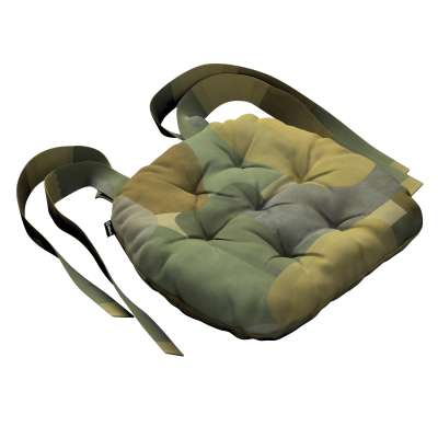 Siedzisko Marcin na krzesło 143-72 geometryczne wzory w zielono-brązowej kolorystyce Kolekcja Vintage 70's