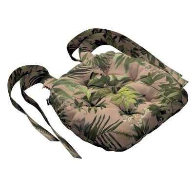 Siedzisko Marcin na krzesło 143-71 zielona roślinność na brudnoróżowym tle Kolekcja Tropical Island