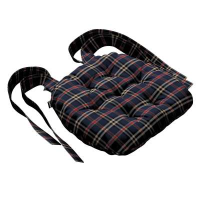 Martin seat pad with bows 142-68 dark blue and red check Collection Christmas