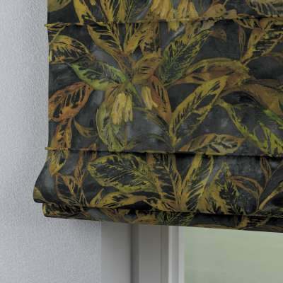 Roleta rzymska Capri 143-01 rdzawo-żółte liście na ciemnym tle Kolekcja Abigail