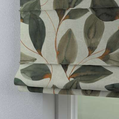 Romanetės Capri 143-17 rudai oranžiniai lapai pilkame lino fone Kolekcija Abigail