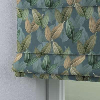 Roleta rzymska Capri 143-20 zielone, beżowe liście na niebiesko-zielonym tle Kolekcja Abigail