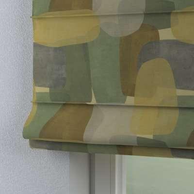 Roleta rzymska Capri 143-72 geometryczne wzory w zielono-brązowej kolorystyce Kolekcja Vintage 70's