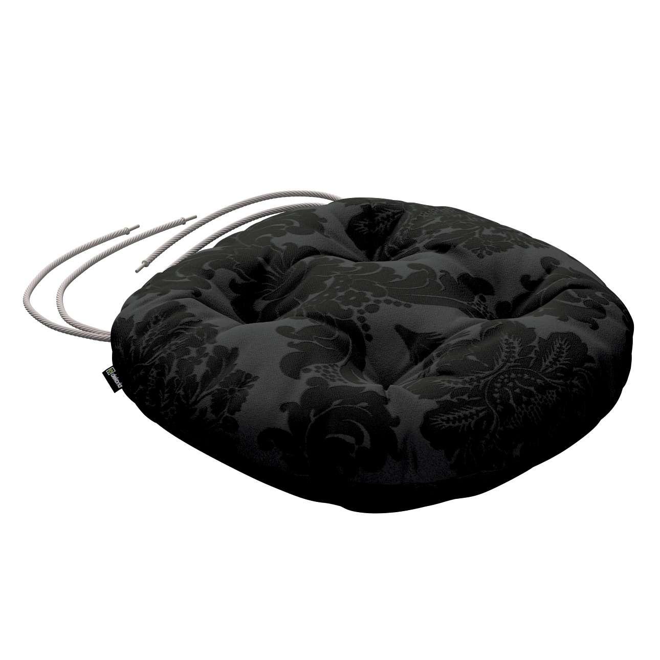 Siedzisko Adam na krzesło fi37x8cm w kolekcji Damasco, tkanina: 613-32
