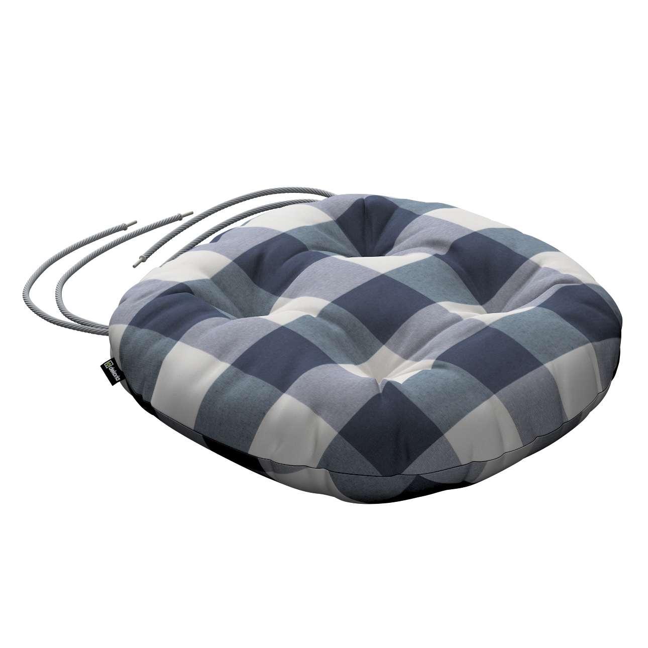 Siedzisko Adam na krzesło fi37x8cm w kolekcji Quadro, tkanina: 136-03