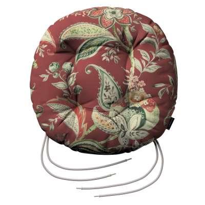 Siedzisko Adam na krzesło 142-12 wzory roślinne i kwiatowe na czerwono-ceglanym tle Kolekcja Gardenia