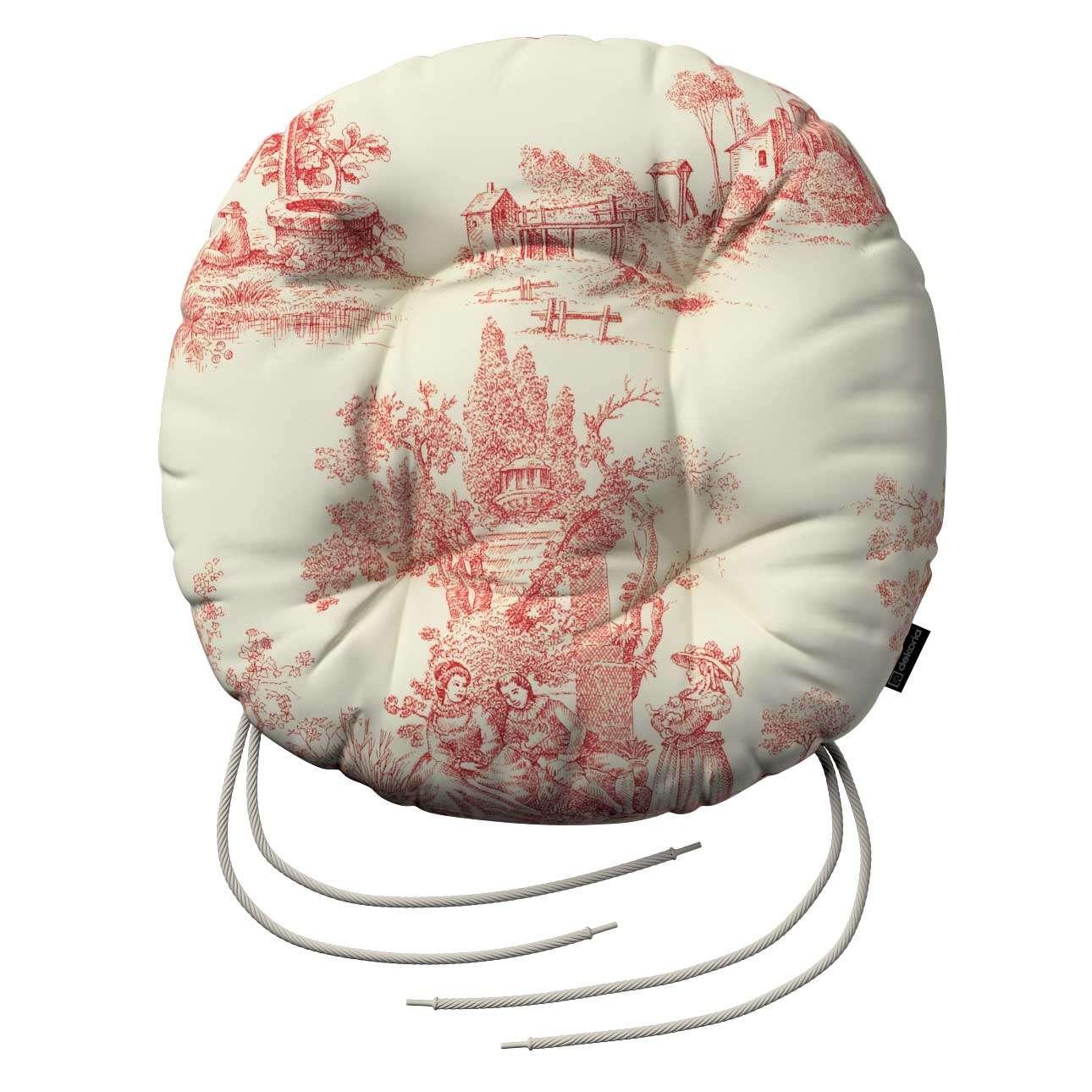 Siedzisko Adam na krzesło fi37x8cm w kolekcji Avinon, tkanina: 132-15