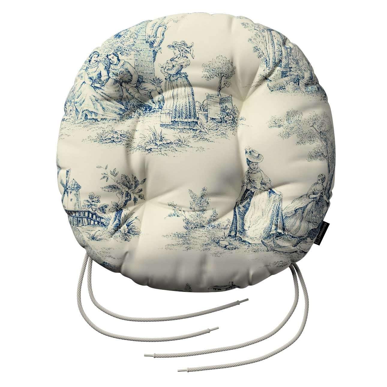 Siedzisko Adam na krzesło fi37x8cm w kolekcji Avinon, tkanina: 132-66