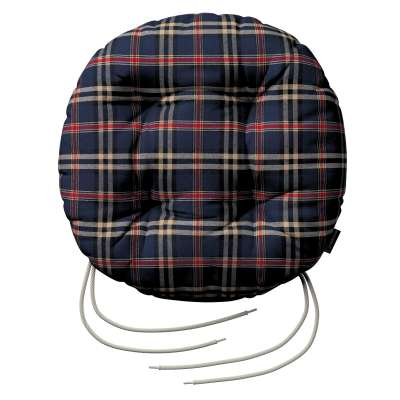 Adam seat pad with ties 142-68 dark blue and red check Collection Christmas