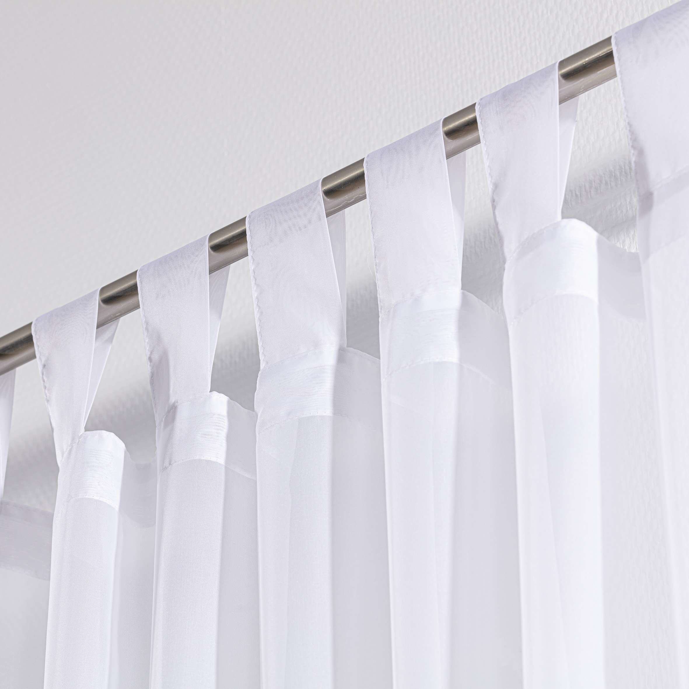 Tab Top Voile Net Curtains White Lead Hem Dekoria