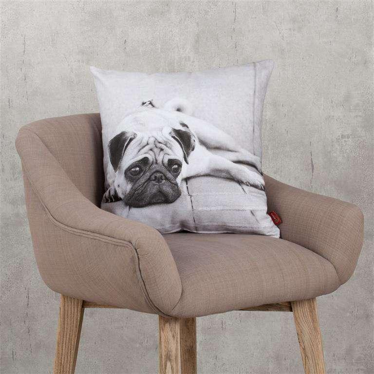 Pagalvėlės užvalkalas su šuniuku Mopsu 45x45cm