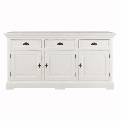 KOMODA BRIGHTON, 3 STALČIŲ + 3 DURŲ, BALTA Angliško stiliaus baldai - Dekoria.lt