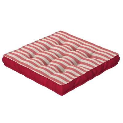 Pagalvėlė Kuba kėdei/ant grindų 136-17 raudonos ir šviesios juostelės (1,5cm), audinys turi natūralų švelnų pasibangavimą Kolekcija Quadro