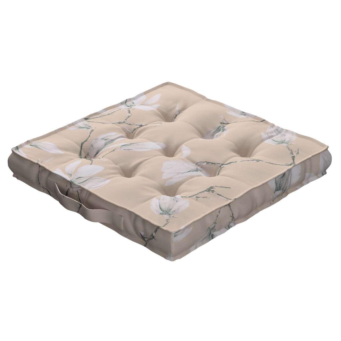 Sitzkissen Jacob mit Handgriff 40 x 40 x 6 cm von der Kollektion Flowers, Stoff: 311-12