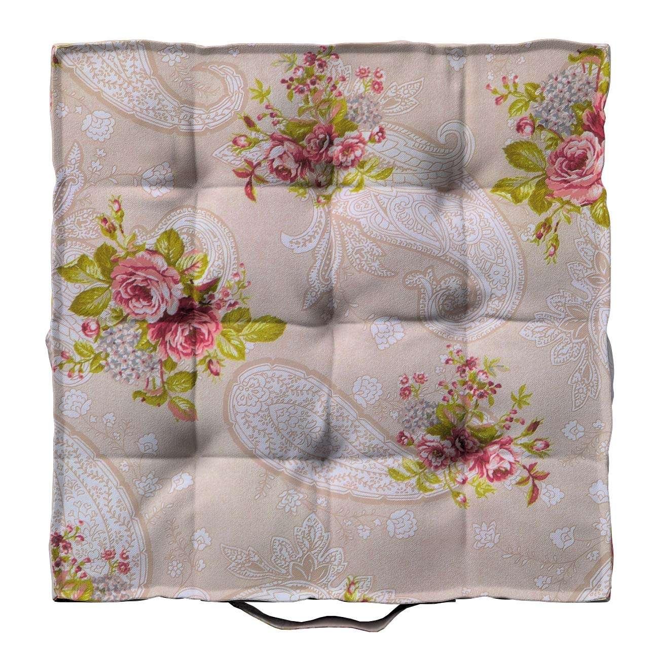Pagalvėlė Kuba kėdei/ant grindų 40 x 40 x 6 cm kolekcijoje Flowers, audinys: 311-15