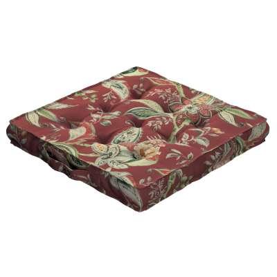 Siedzisko Kuba na krzesło 142-12 wzory roślinne i kwiatowe na czerwono-ceglanym tle Kolekcja Gardenia