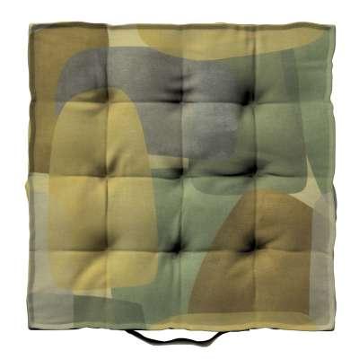 Siedzisko Kuba na krzesło 143-72 geometryczne wzory w zielono-brązowej kolorystyce Kolekcja Vintage 70's