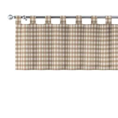 Lambrekin na szelkach 136-06 beżowo biała kratka (1,5x1,5cm) Kolekcja Quadro