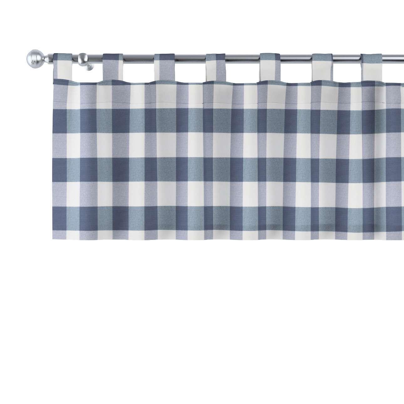 kurzgardine mit schlaufen weiss dunkelblau kariert dekoria. Black Bedroom Furniture Sets. Home Design Ideas